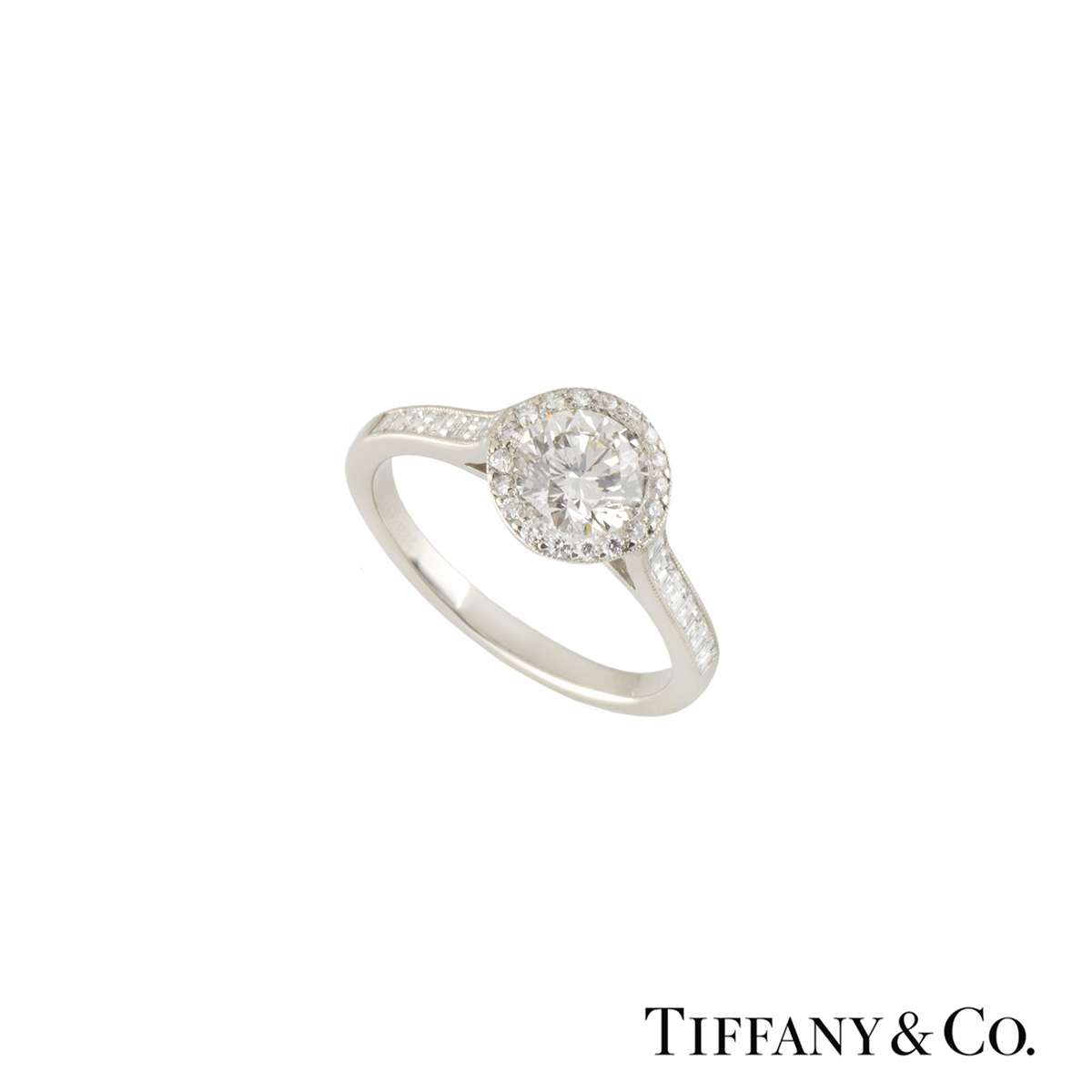 Tiffany & Co. Platinum Diamond Halo Ring 1.00ct G/VVS1